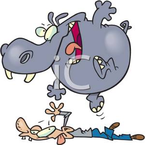 Trample clipart clipart A Hippo Trampling a Man Clipart Picture clipart
