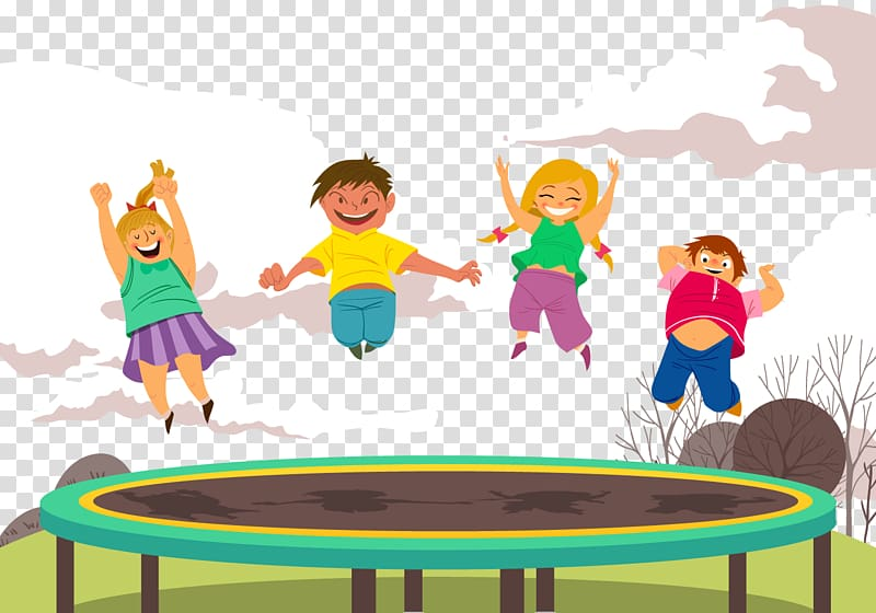Trampoline skills clipart image download Children playing on trampoline illustration, Trampoline ... image download