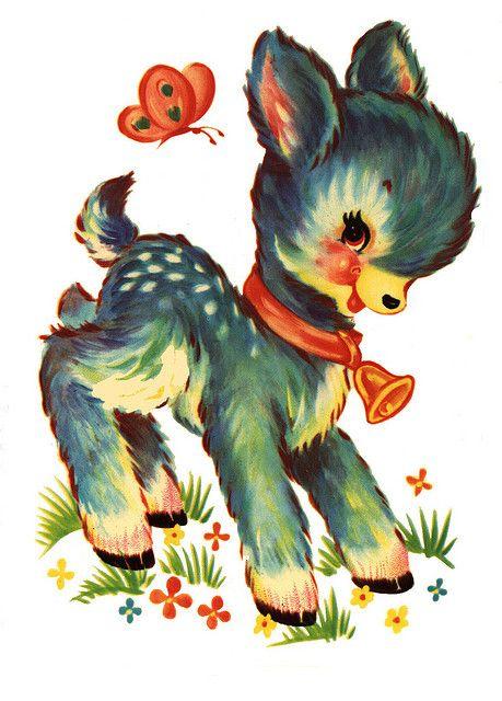 Transfer sheet clipart 1950s clip transparent download 1950\'s Vintage Nursery Deer Transfer | Memories... Before ... clip transparent download