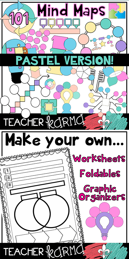 Transform 101 clipart vector black and white Mind Maps * 101 Graphic Organizers * Pastel Clipart ... vector black and white