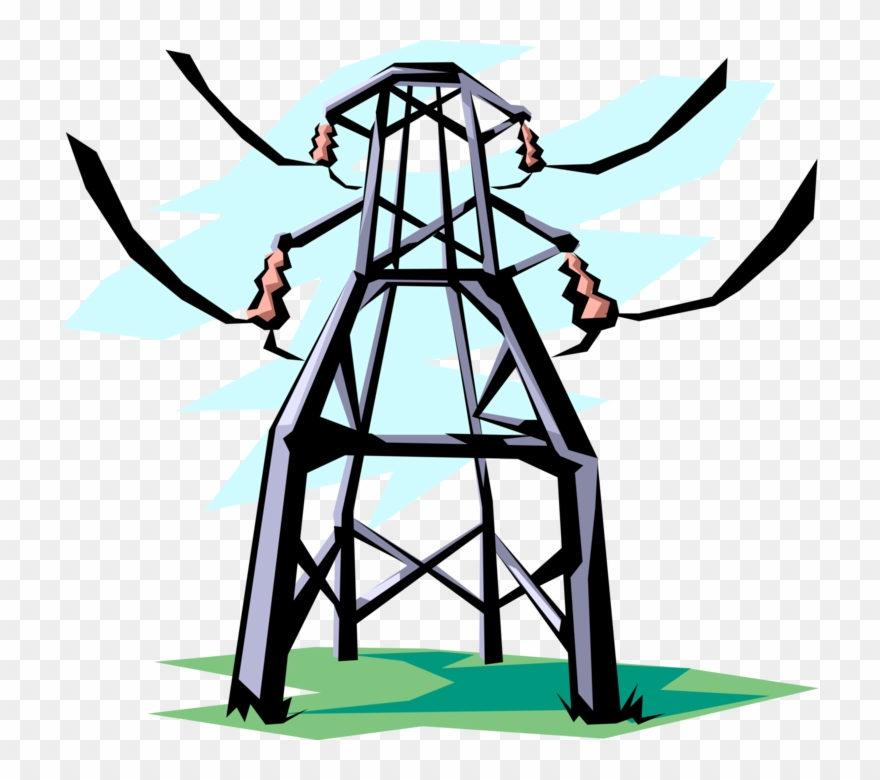 Transmission clipart clip art library Vector Illustration Of Transmission Tower Carries Electrical ... clip art library