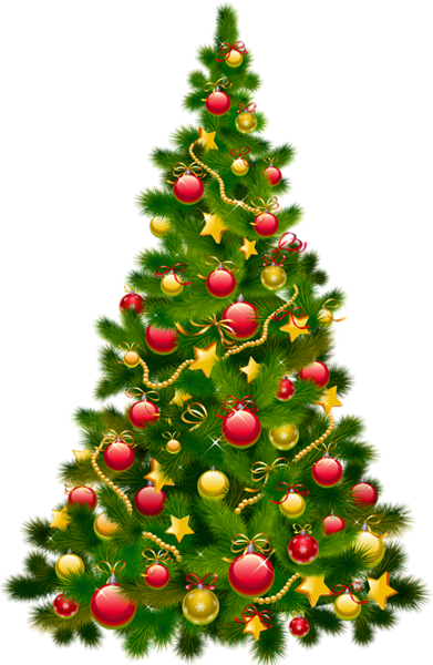 Wallpaper clipart for christmas picture free stock Large Transparent Christmas Tree with Ornaments Clipart ... picture free stock
