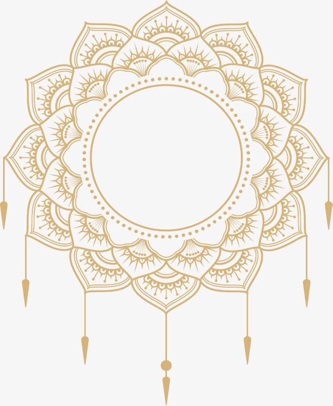 Transparent background mandala border clipart vector transparent download Gold Mandala Title, Vector Png, European Style, Decorative ... vector transparent download