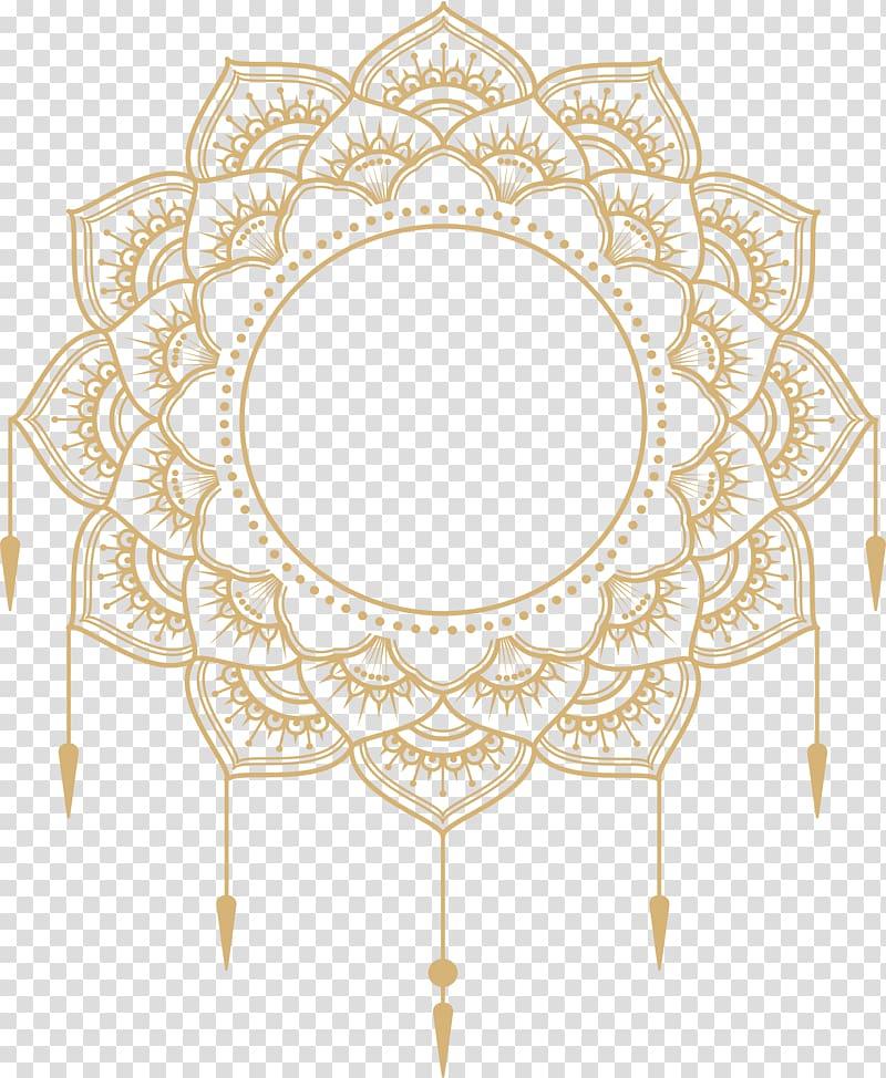 Transparent background mandala border clipart clip Paper Adobe Illustrator Icon, gold mandala title box, yellow ... clip