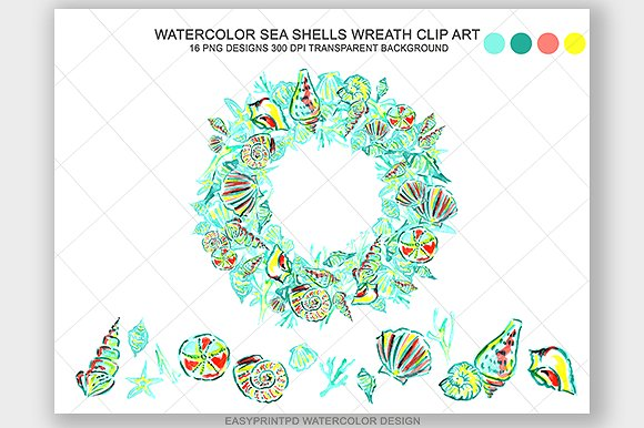 Transparent background png seashell wreath clipart banner royalty free stock Watercolor Sea Shell Clip Art ~ Illustrations on Creative Market banner royalty free stock