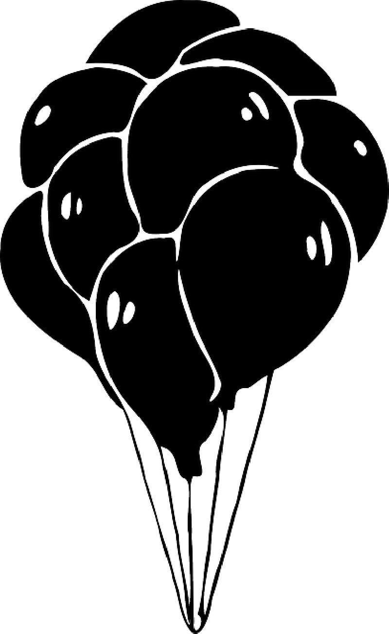 Transparent birthday black balloon clipart vector black and white Birthday Balloons Clipart Black And White , Transparent ... vector black and white