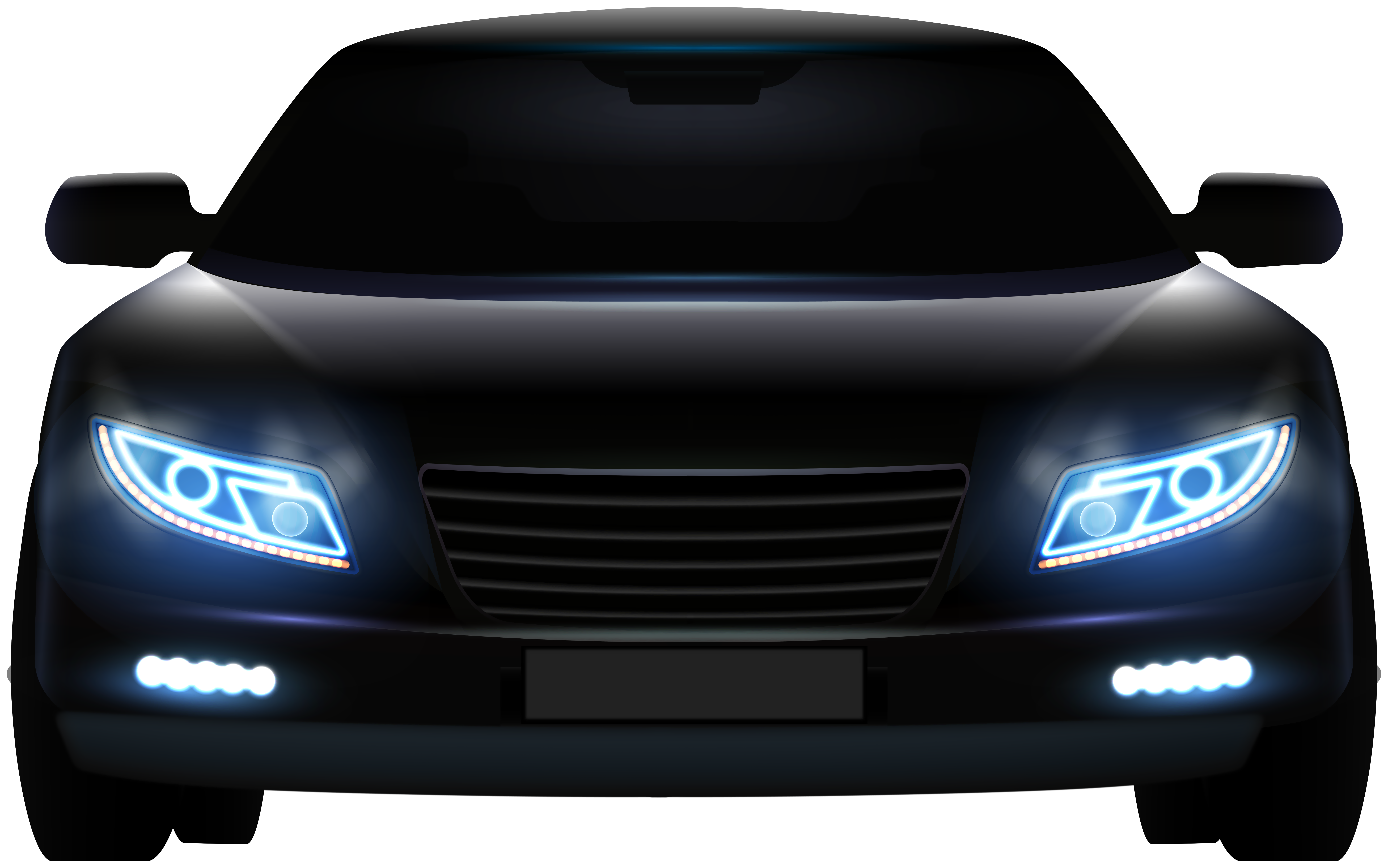 Transparent car front view clipart picture black and white library Black Front Car PNG Clip Art - Best WEB Clipart picture black and white library