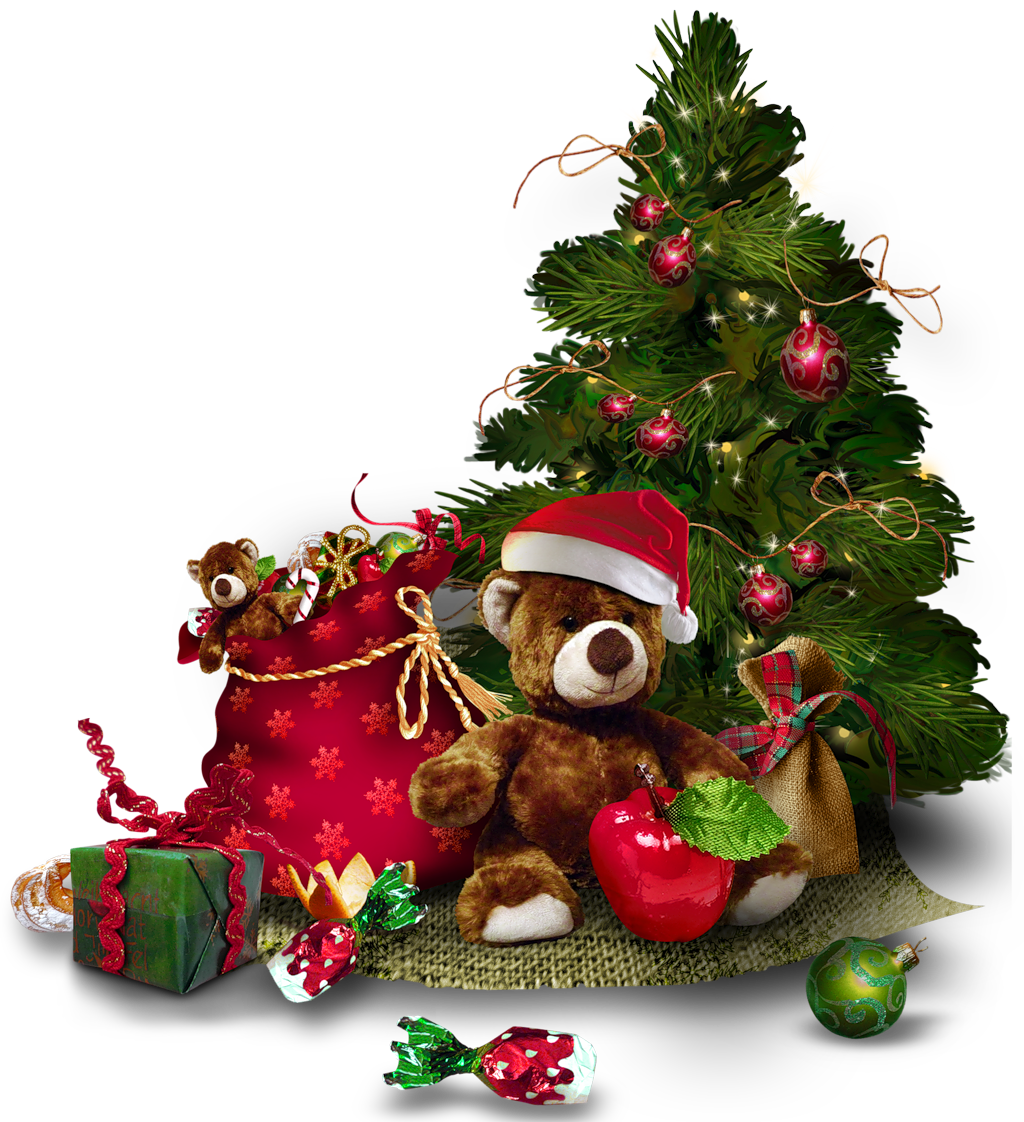 Bear tree clipart svg black and white library Transparent Christmas Tree with Teddy Bear PNG Clipart svg black and white library
