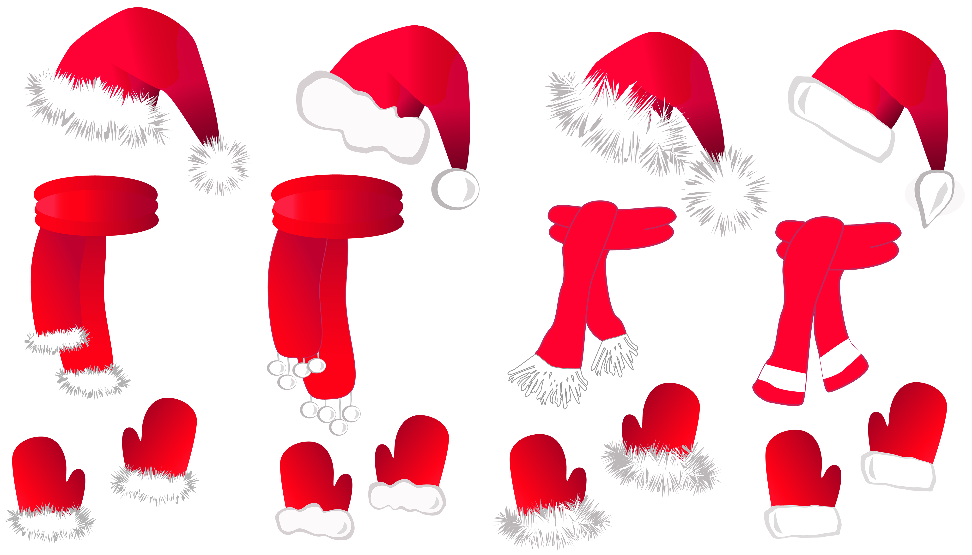 Transparent christmas clipart png clip art black and white stock Transparent Christmas Santa Hat and Scarfs Collection PNG Clipart clip art black and white stock