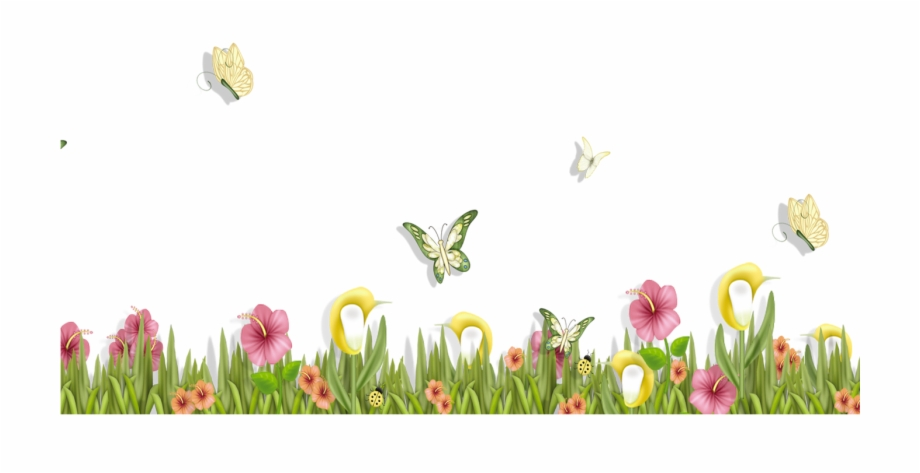 Transparent clipart butterfly on flower library Grass With Butterflies And Flowers Png Clipart Spring ... library