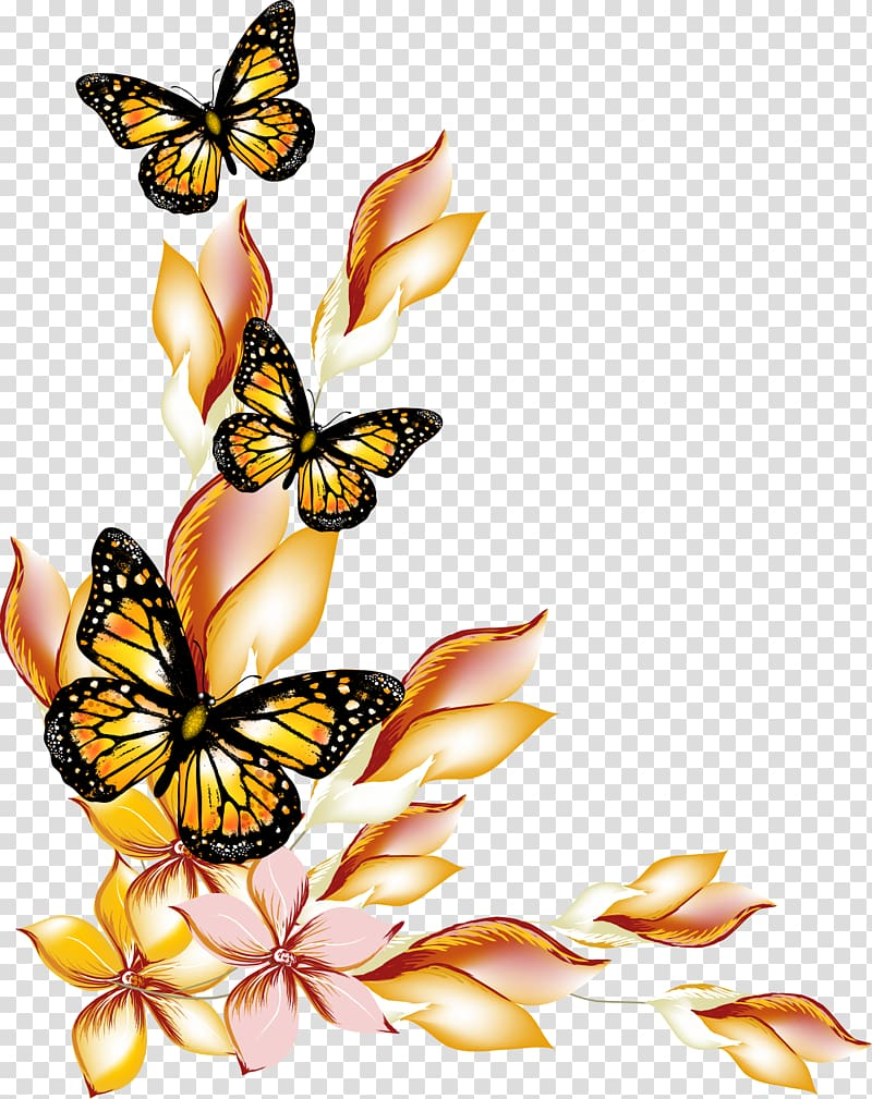 Transparent clipart butterfly on flower svg free stock Three brown-and-black butterfly illustration, Butterfly ... svg free stock