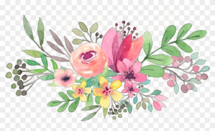 Transparent floral clipart clip art ftestickers #watercolor #flowers #floralswag #pink ... clip art
