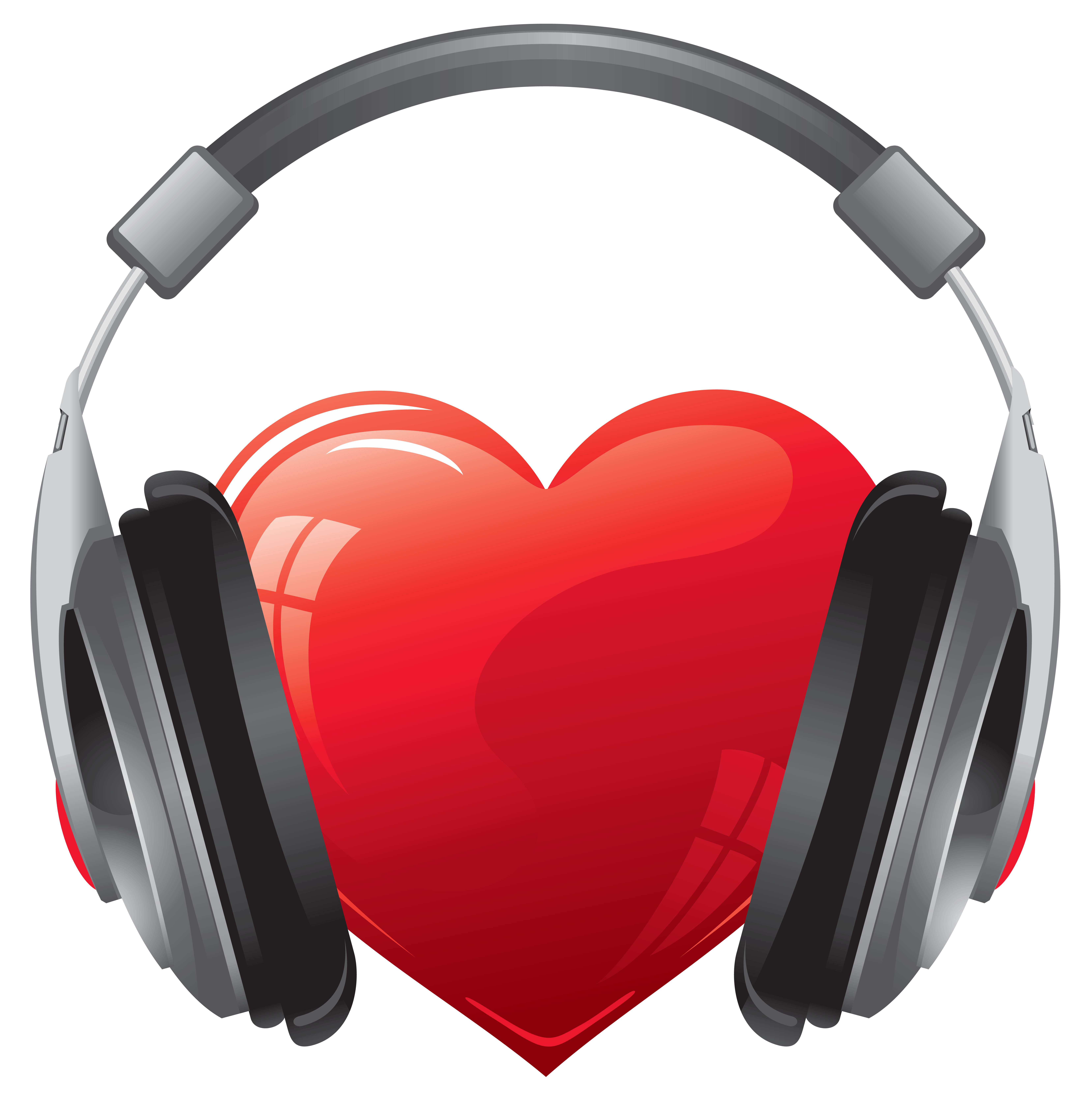 Transparent heart clipart vector stock Heart with Headphones PNG Clipart Image | Gallery Yopriceville ... vector stock