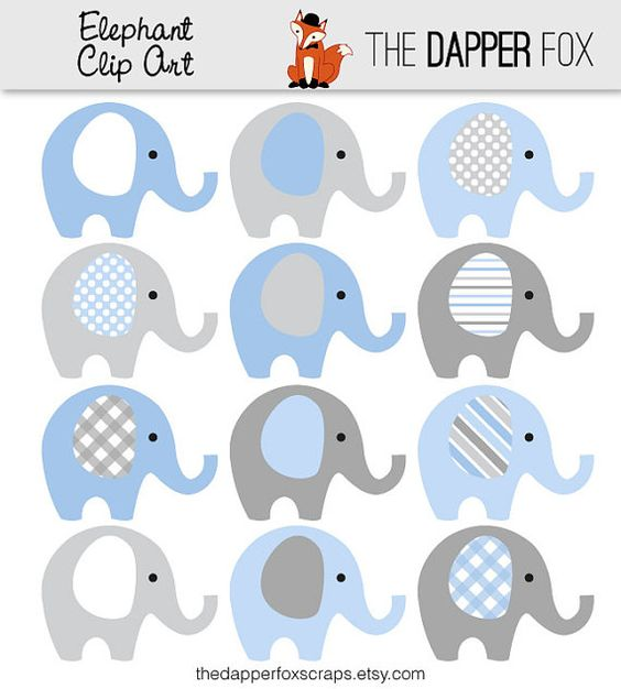 Transparent jpeg elephant clipart jpg library stock Blue and Grey Elephant Clip Art - INSTANT DOWNLOAD - Baby boy baby ... jpg library stock