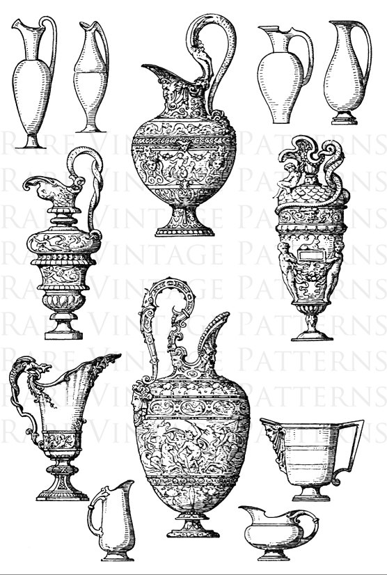 Transparent x files clipart graphic black and white library Antique Decorative Ewers #4 Stencil 2 x Files Jpg + Png ... graphic black and white library