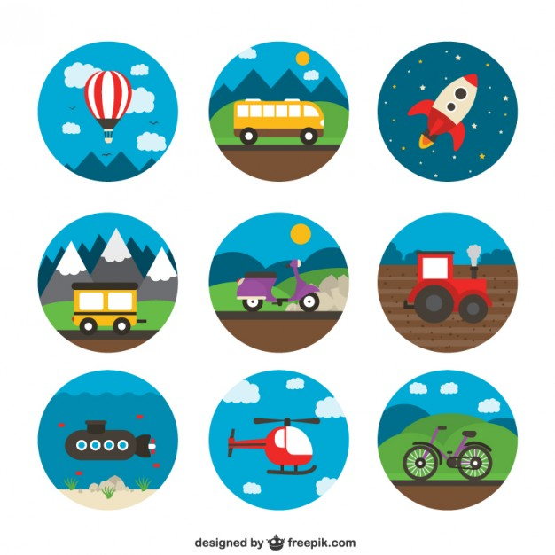 Variety of Transport Icons Free Vector clip transparent stock