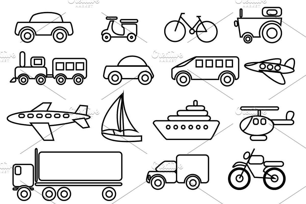Transportation Vector Clip art set clipart free stock