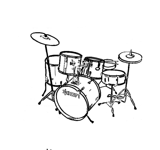 Trap set clipart free png black and white Drum Set Drawing | Clipart Panda - Free Clipart Images png black and white