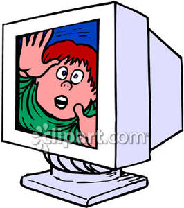 Trapped in the closet clipart svg royalty free library Boy Trapped Inside His Computer - Royalty Free Clipart Picture svg royalty free library