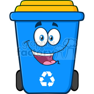 royalty free rf clipart illustration happy blue recycle bin cartoon  character vector illustration isolated on white background . Royalty-free  clipart ... royalty free download