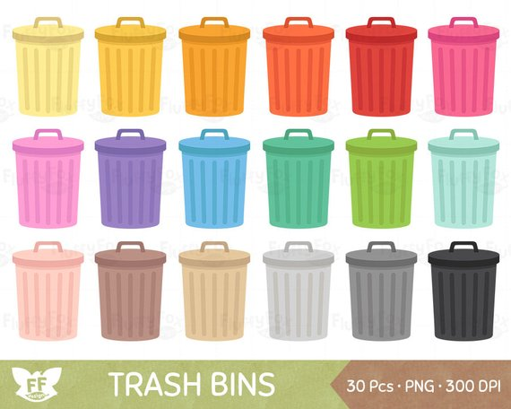 Trash around trash can clipart vector freeuse Trash Bin Clipart, Garbage Can Clip Art, Waste Bins Cliparts ... vector freeuse