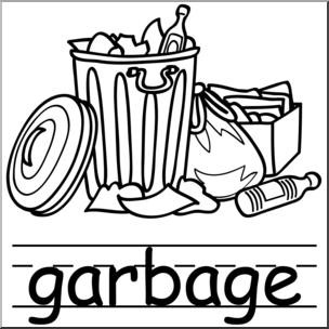 Trash black and white clipart jpg stock Clip Art: Basic Words: Garbage B&W (poster) I abcteach.com ... jpg stock