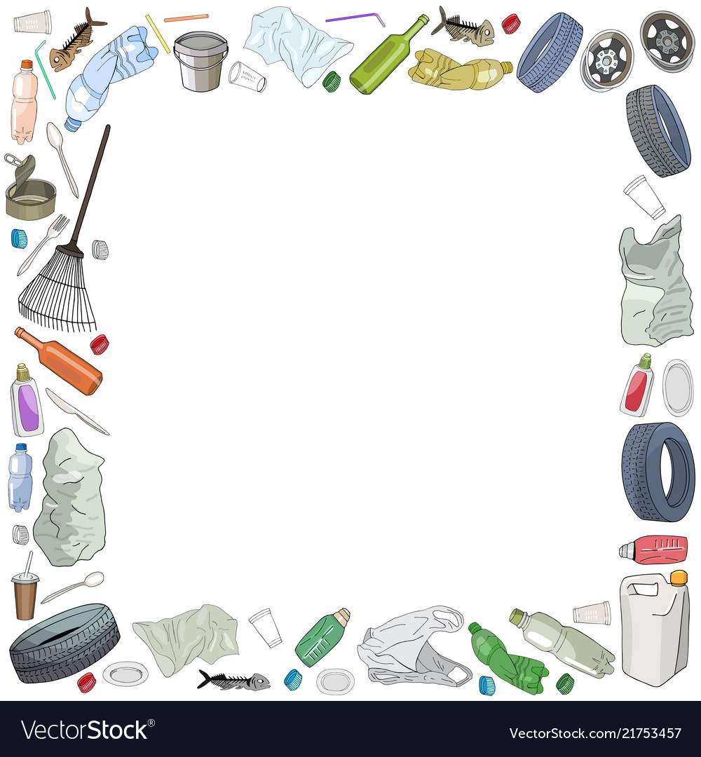 Trash border clipart image stock Template with different kinds of garbage and bags vector image image stock