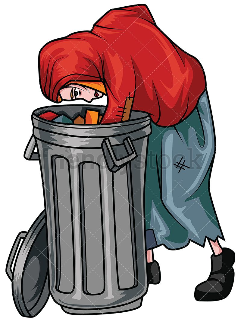 Poor Woman Looking For Food In Trash Bin | Vector ... clipart black and white download