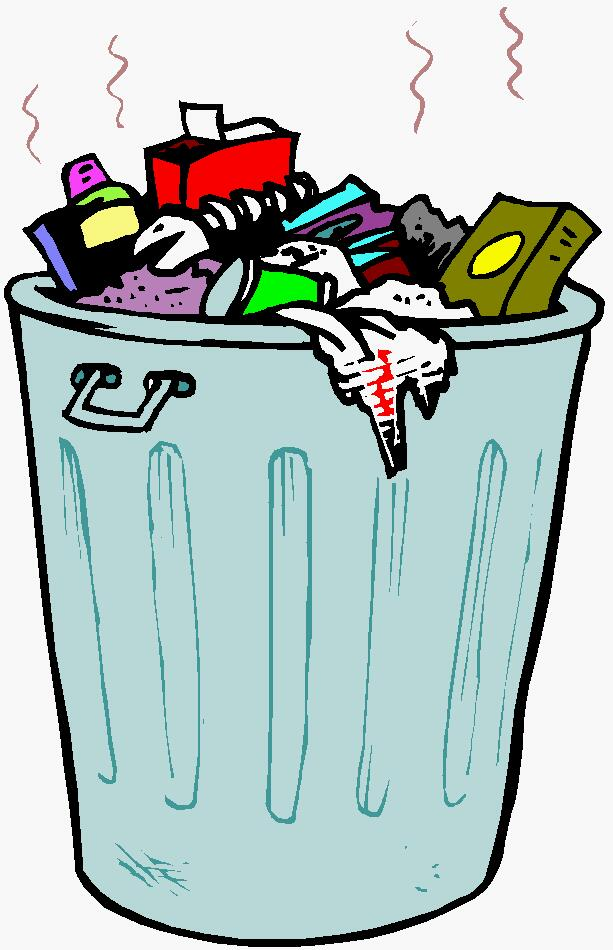 Trash can filled clipart