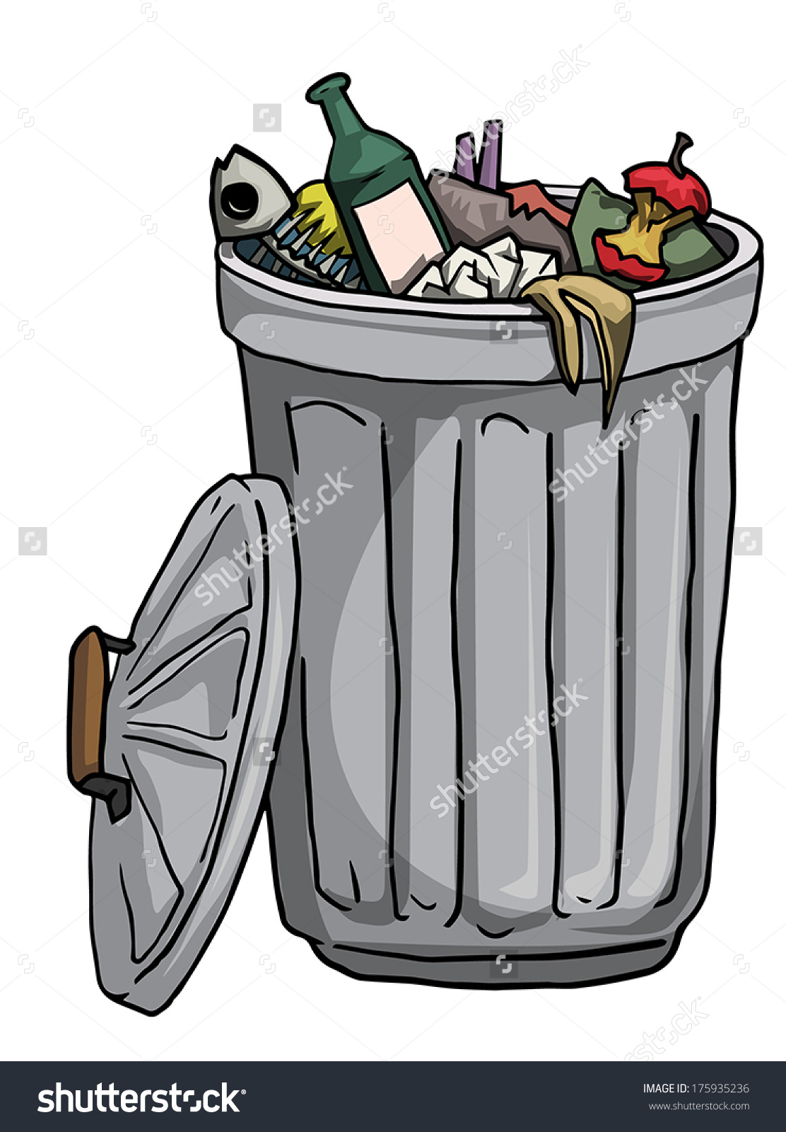 Trash can filled clipart picture royalty free Trash Can Full Rubbish Vector Illustration Stock Vector 175935236 ... picture royalty free
