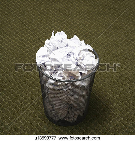 Trash can filled clipart graphic royalty free library Picture of Wire mesh trash can filled with crumpled paper on green ... graphic royalty free library