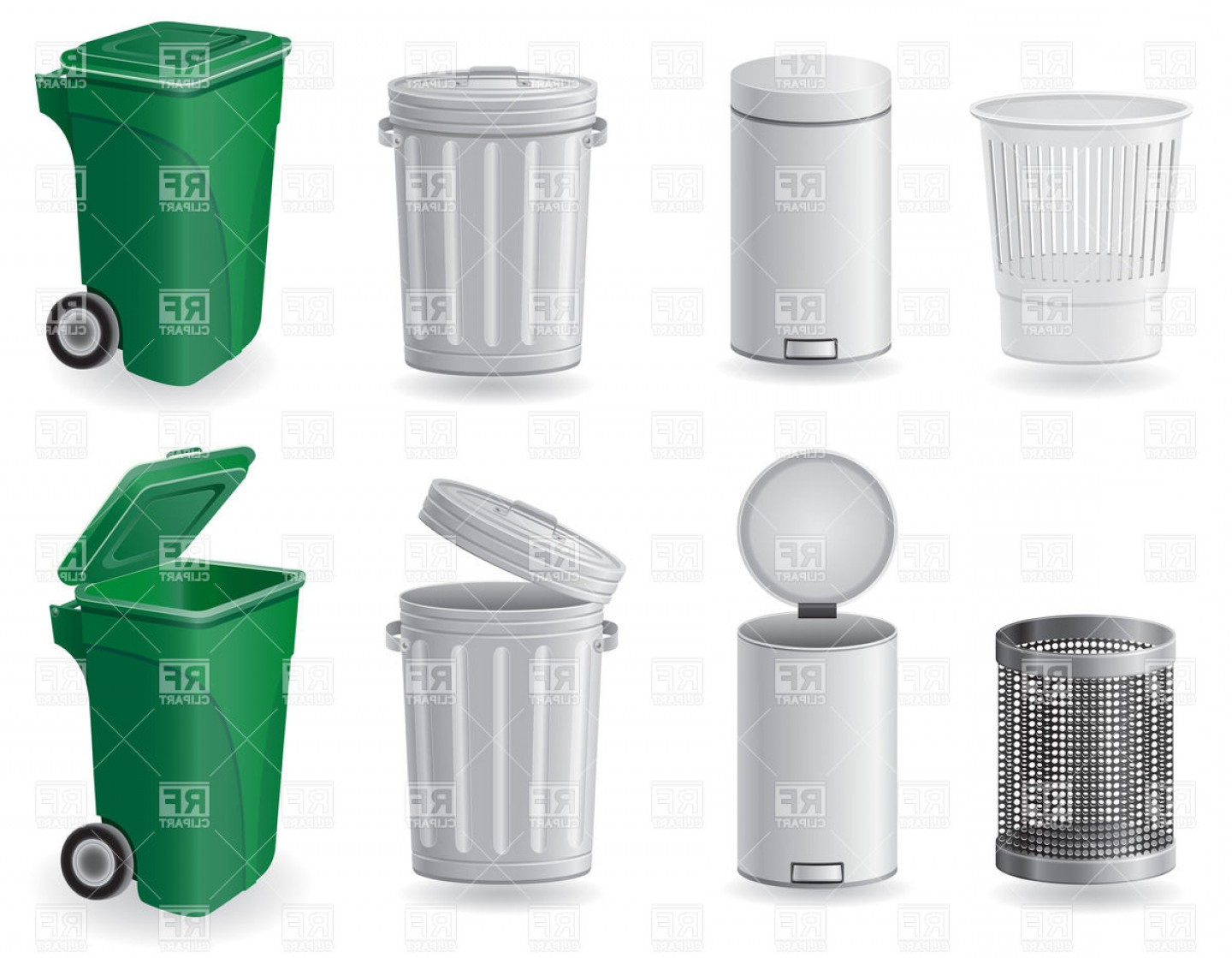 Trash can on wheels clipart png transparent stock Set Of Trash Cans And Dustbins Vector Clipart | SOIDERGI png transparent stock