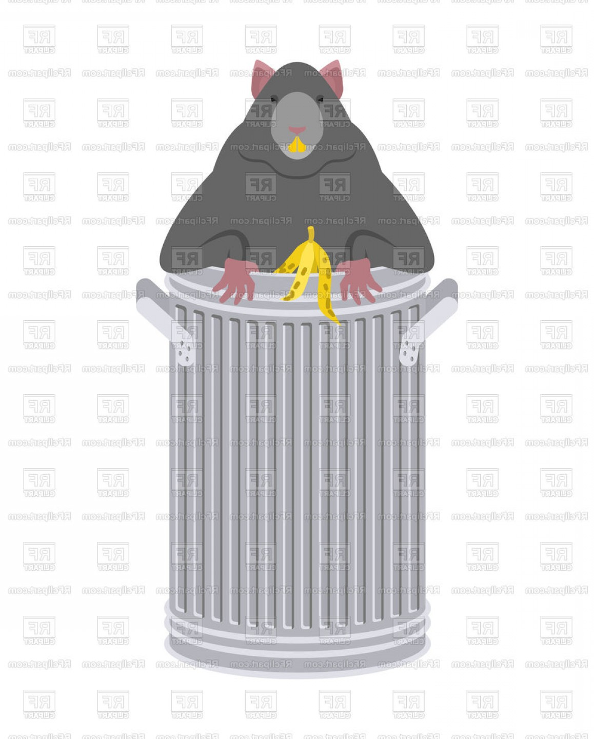 Rat In Garbage Can Vector Clipart | SarahGardan picture stock
