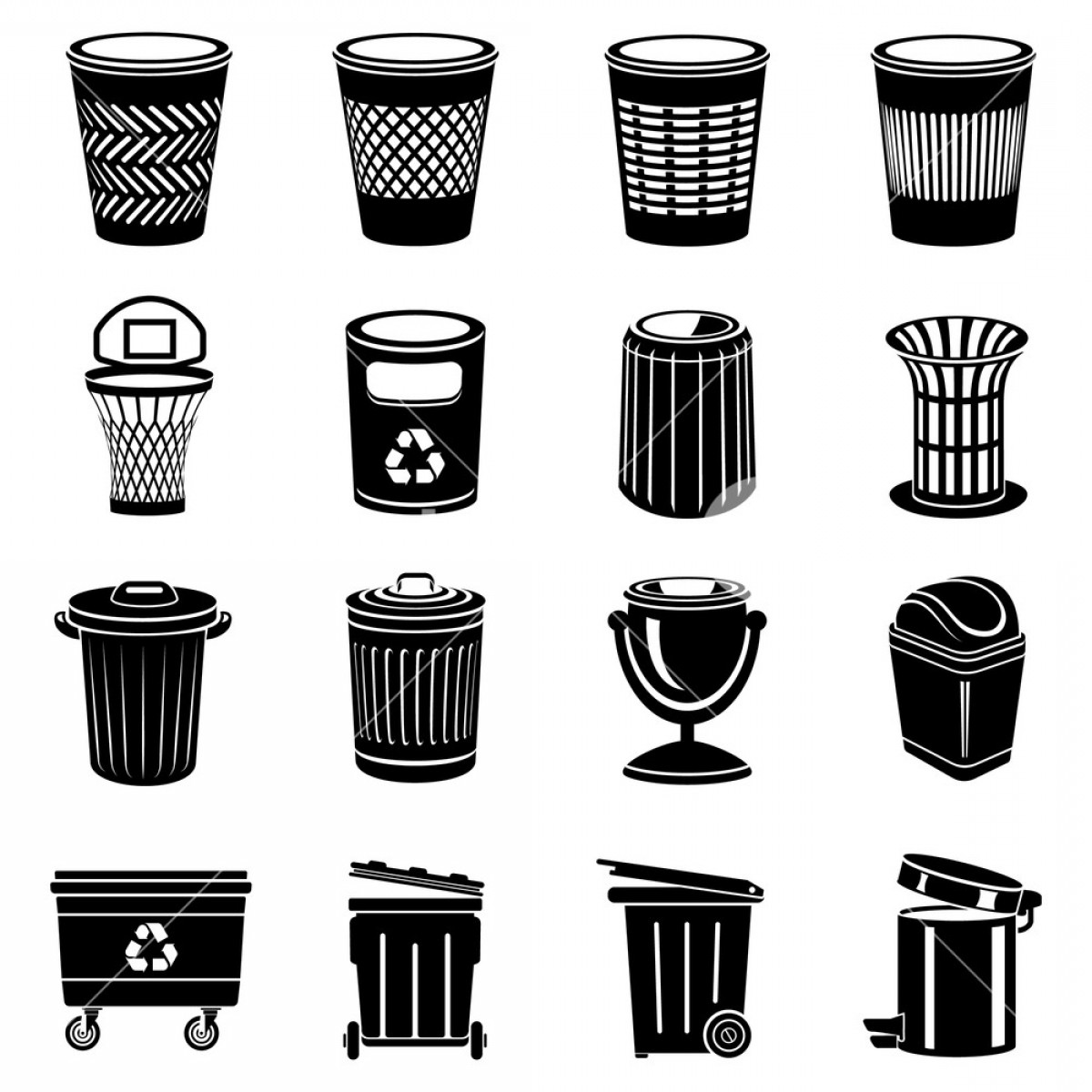 Trash Can Icons Set Simple Illustration Of Trash Can Vector ... picture royalty free download