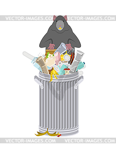 Rat in garbage can. Rodent in trash. big mouse in - vector ... picture freeuse