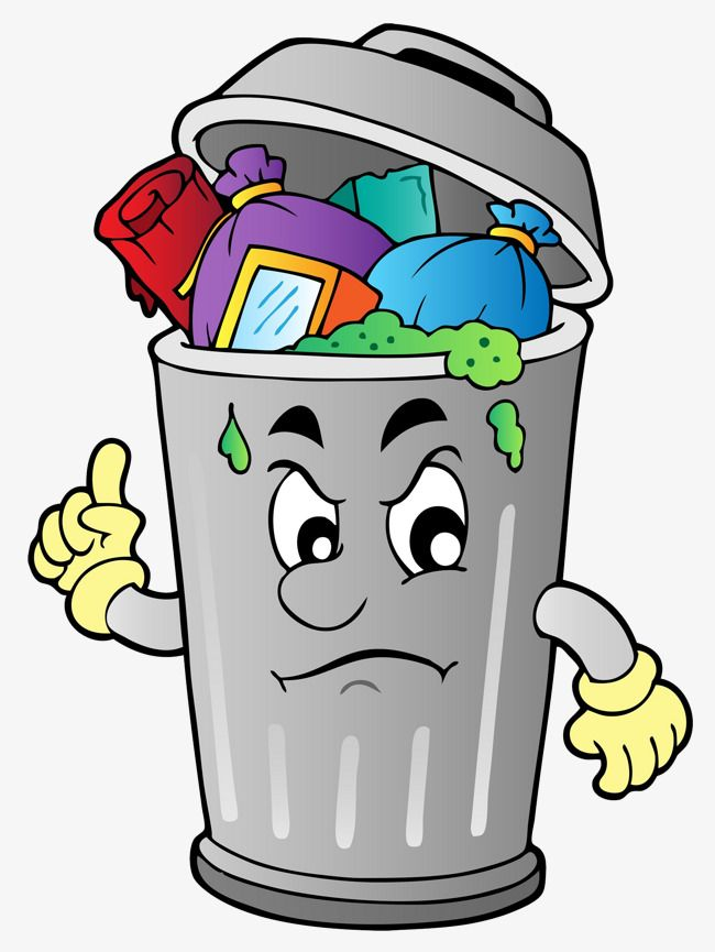 The Rubbish In The Garbage Can, Can Clipart, Cartoon ... image transparent stock