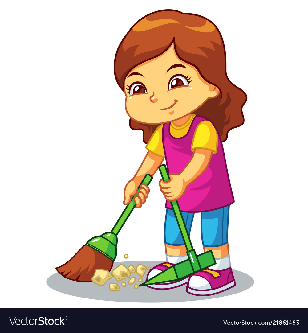 Trash clean up clipart svg freeuse stock Girl clean up garbage with broom and dust pan svg freeuse stock