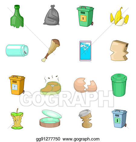 Trash items clipart svg freeuse library Drawing - Garbage items icons set, cartoon style. Clipart ... svg freeuse library