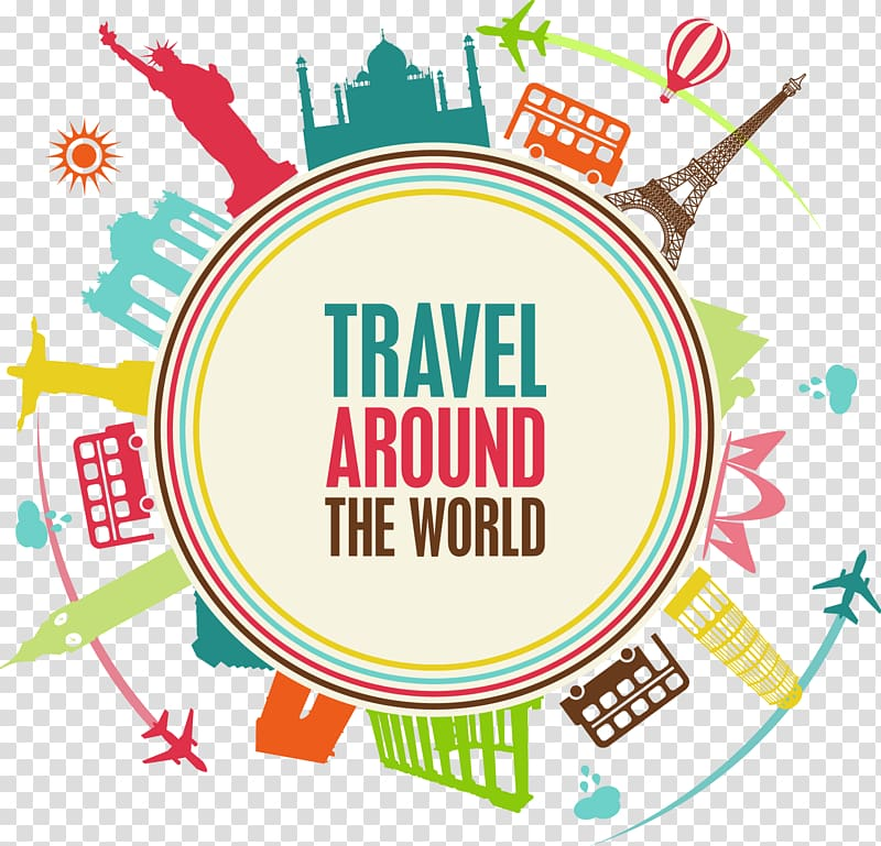Travel around the world clipart image transparent library Travel Around The World little planet illustration, Package ... image transparent library