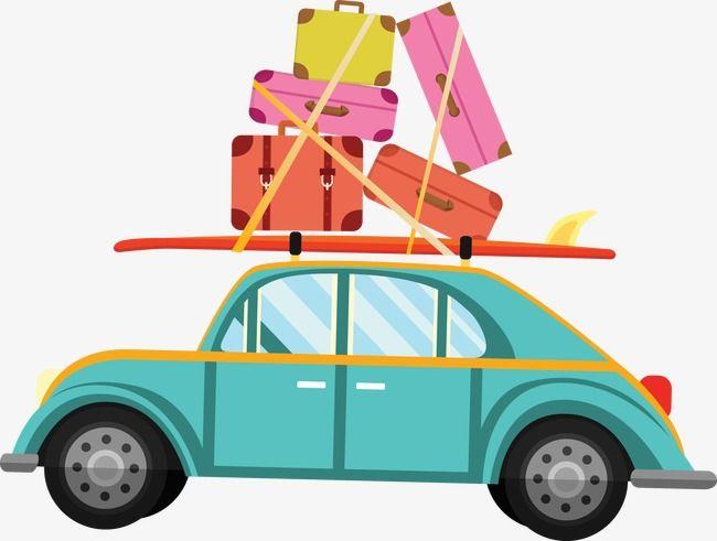 Travel car clipart clip transparent Vector Pull Baggage Car | Bamboo | Car vector, Travel ... clip transparent