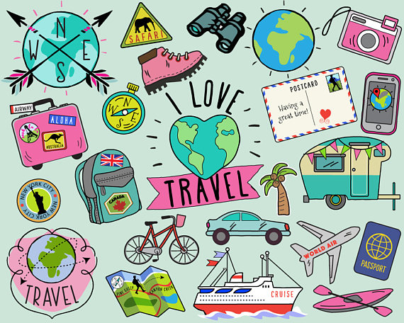 Travel clipart images picture library Travel Clipart, summer clipart, bullet journal stickers ... picture library