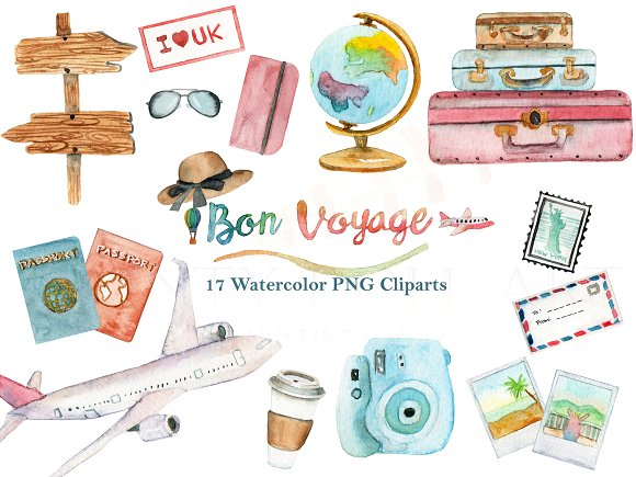Watercolor Travel World Clipart Set clipart stock
