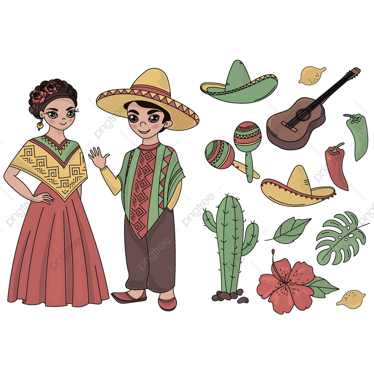 Mexico Cartoon Travel National Clipart Color Vector ... svg black and white library