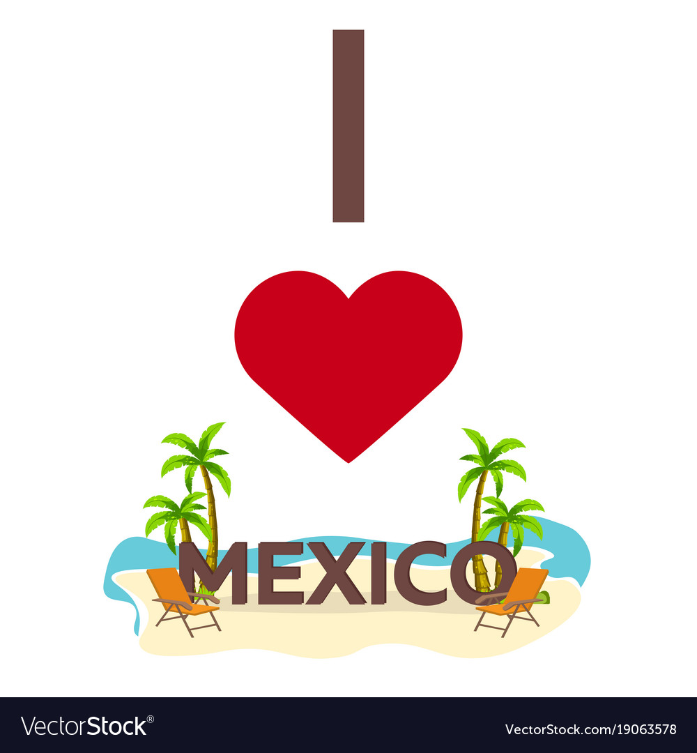 I love mexico travel palm summer lounge chair clipart black and white download