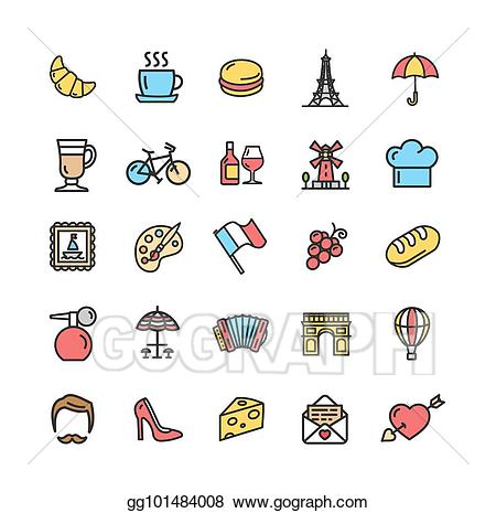 Travel signs clipart picture library library Vector Stock - France travel signs color thin line icon set ... picture library library