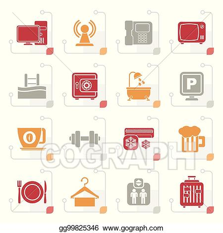 Travel size amenities clipart banner library download Vector Stock - Stylized hotel amenities services icons ... banner library download