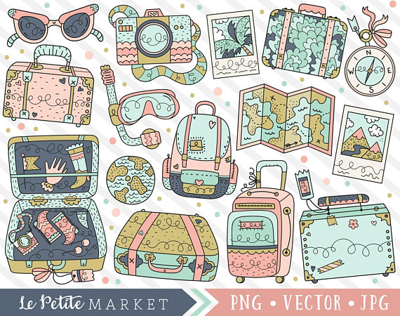 Travel symbols clipart clipart royalty free library Cute Travel Clipart Set, Kawaii Travel Graphics, Cute ... clipart royalty free library
