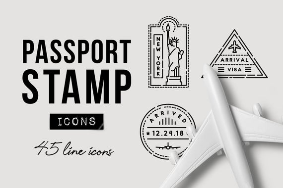 Travel symbols clipart jpg black and white library Travel Icons, Passport Stamp Icons, Travel Clipart, SVG ... jpg black and white library
