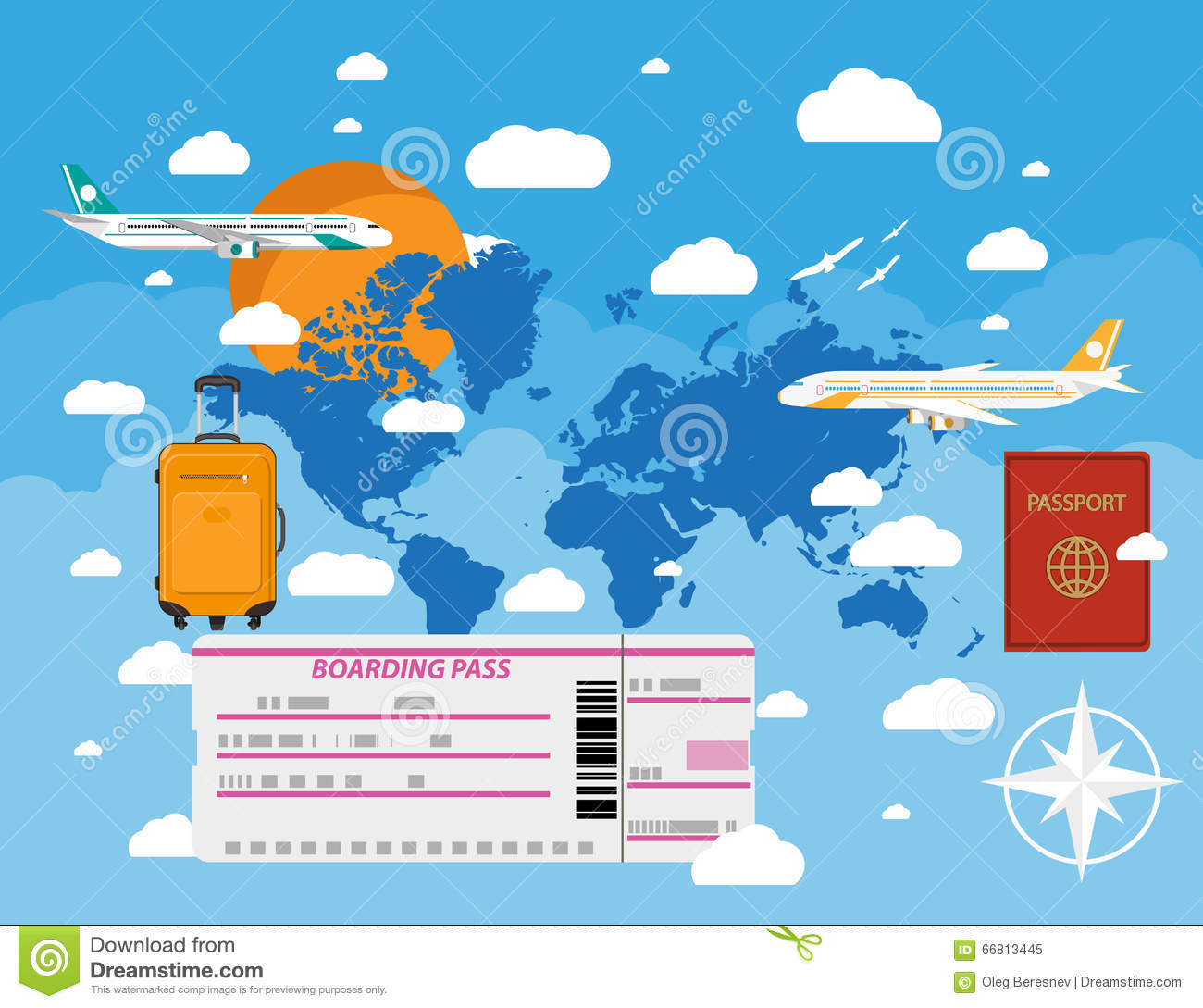 Traveling plane destination clipart jpg royalty free library Flying A Plane To Travel Destination Stock Vector - Image: 66813445 jpg royalty free library