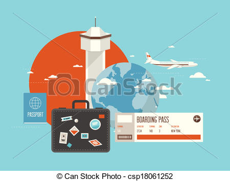 Traveling plane destination clipart clipart free download Clipart Vector of Flat illustration of travel on airplane - Flat ... clipart free download